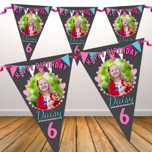 Personalised Girls Bunting & Hearts Happy Birthday Flag PHOTO Bunting Banner - N83 ANY AGE
